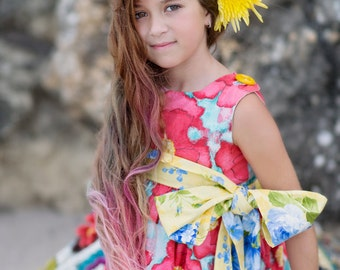Venice Dress - Wore Poppy - Big Bow - Children Clothing - Natural Floral Dress - Girl Clothing - Children Fashion -  2T to 8