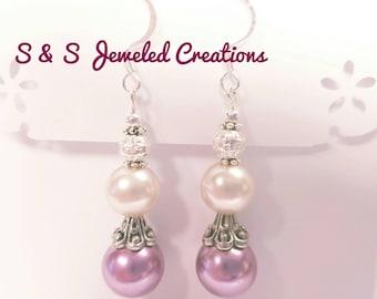 Light Purple and Pearl Drop Earrings
