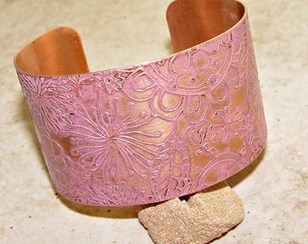 "Etched Copper Cuff Bracelet Cotton Candy Pink Patina , 1.5"" Wide"