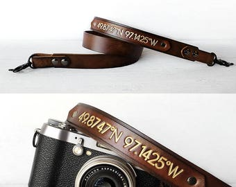 Personalized Leather Camera Strap, Latitude and Longitude Coordinates, Photography Gift, Father's Day, DSLR SLR, Anniversary Gift, Tech Gift