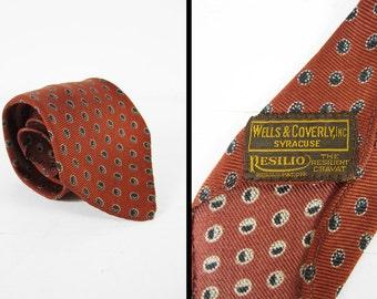 Vintage 1940s Rust Print Necktie Silk Resilio Wagon Wheel Polka Dot Men's Cravat