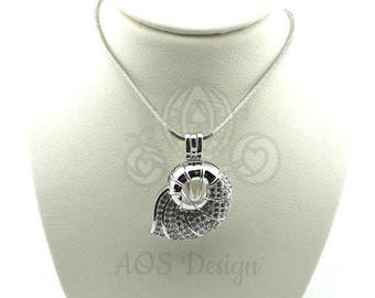 Nautilus Shell Pick A Pearl Cage Silver Necklace Mermaid Beach Treasure Crystal Accents