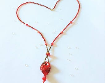 Red Twist Glass Long Pendant