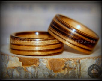 "Bentwood Rings - ""Zebrawood Pair"" Zebra Wood Ring Set"