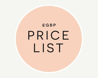 GBP Price List // Expand 'Item Details' or See Photos // Information Page Only (Do Not Purchase)
