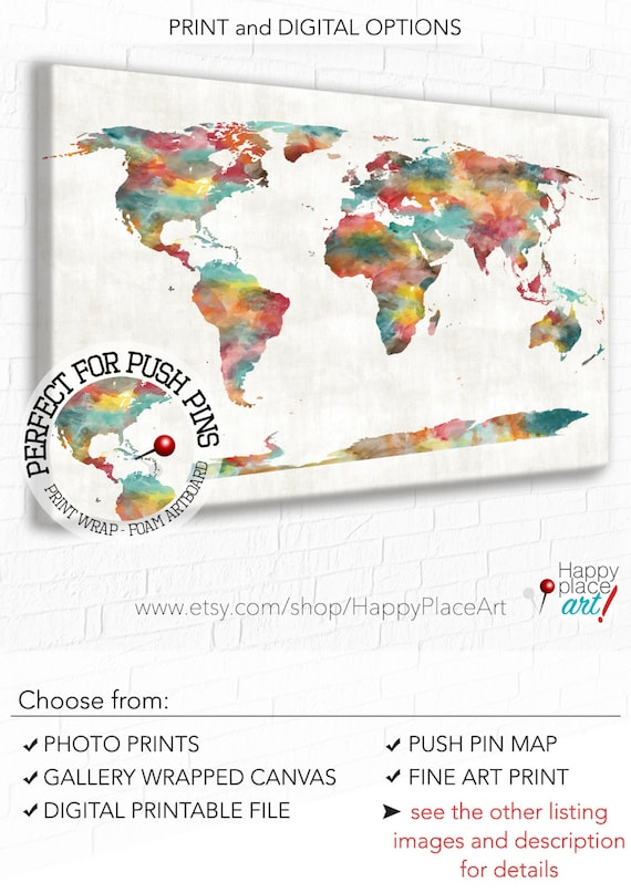 Very large custom world map print or printable world map art like this item gumiabroncs