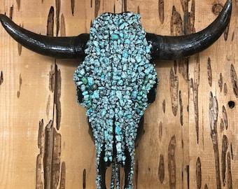Beautiful hand decorated Chryscolla cow skulls