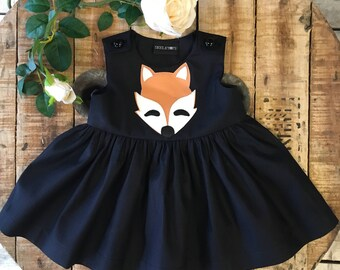 Skeletots black  fox dress goth rock baby girl ages 2-6 years