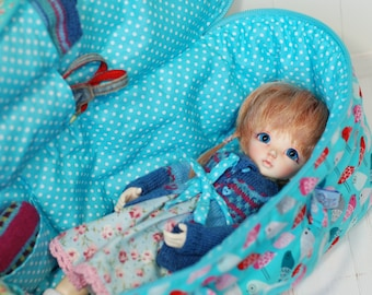 Travel Bag Sleeping Protective Doll Case Blythe Littlefee Handcrafted For Dolls Handmade 1/6 Bjd Pullip Turquoise Pink Birds