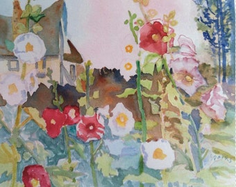12x11 COTTAGE HOLLYHOCKS a quality print from my Original Watercolor, Country Garden, Pinks and Red, Gift for Her