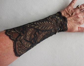 Lace Cuffs, ONE PAIR gauntlet elastic, Black with Gold accents, wedding fun prom concert rocker, lace gauntlet, black lace, wrist accessory
