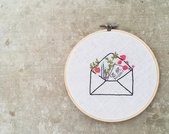Personalized Note Hand Embroidery Hoop Art / Modern Hand Embroidery Wall Art / Hand stitched Wall Decor / Colourful Floral Envelope Hoop