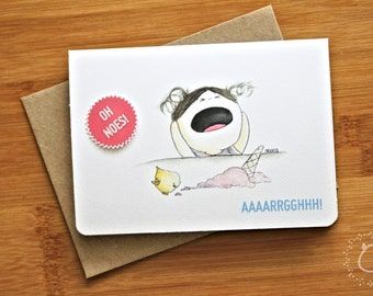 "Blank Illustrated Greeting Card - Funny Frustrated CurlieQ & Ice Cream ""Aaaarrgghhh!"" with Recycled Kraft Envelope"