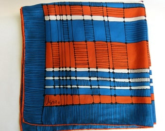 Vintage Mid Century Modern Turquoise Blue, Black and Dark Orange Rust Vera Neumann Square Scarf - Silk Rayon, Stripe, Japan, Sumi-e, Bold