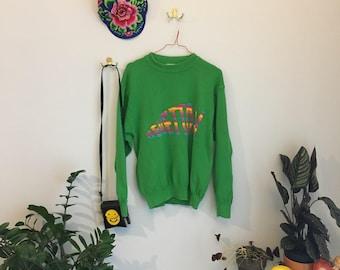 SZ M 80s Green United Colors of Benetton Sweater w/ Rainbow Font / Logo