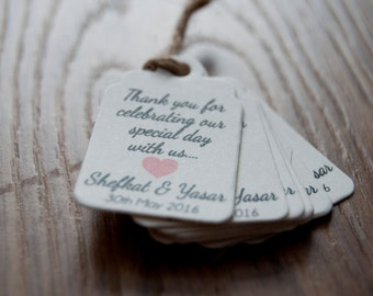 20x Mini Thank You Tags Favour/Wedding Tags