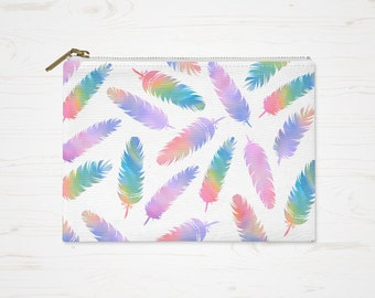 Boho Cosmetic Bag, Bohemian Purse, Accessory Pouch, Modern Colorful Pouch, Large Pencil Case, Small Makeup Bag, Watercolor Feathers