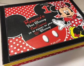 1st Birthday Time Capusule Keepsake box -CUSTOM Minnie Mouse Theme