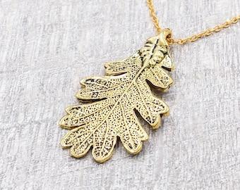 Oak Leaf Necklace, Ranger's Apprentice Inspire Oak Leaf Necklace, Woodland Oak Leaf Necklace, Gold Leaf Necklace
