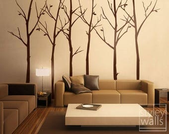 Tree Wall Decal, Forest Winter Trees Wall Decal Stickers Set Of 6 Vinyl  Wall Decal