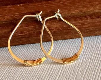 Petite Embellished Hoop Earrings. Wire Wrapped Hoops. Simple Gold Hoop Earrings. Small Hoop Earings. Minimalist Hoops
