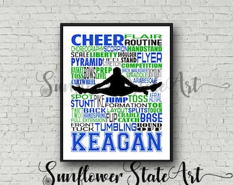 Cheerleading Typography Poster, Personalized Male Cheerleader Art, Cheerleading Gift, Gift for Cheerleaders, Cheer Team Gift