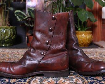 Men's Vintage Dark Brown Button Boots Size 8