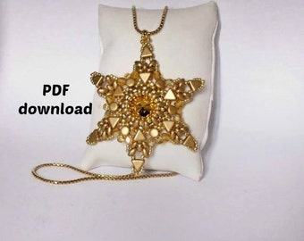 Star pendant, PDF tutorial, star pendant pattern pdf,pattern bijoux,  kheops pendant, superduo pendant, pellet pendant, pattern pdf,