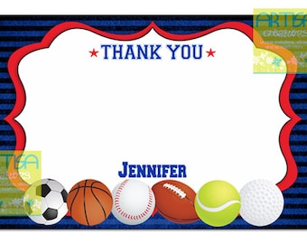 All Stars Thank you card, All Star note card thank you, All Stars printable thank you, All sports thank you, all sports thank you, note card