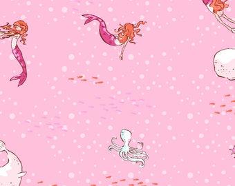 Fabric, Mermaid Play, Carnation Pink, Best of Sarah Jane, Michael Miller, Mermaids, Whales, Octopus, By the Yard