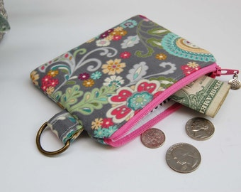 Coin Pouch in Floral Paisley