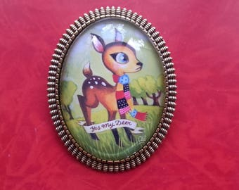 "Bambi Brooch ""Yes my Deer"""