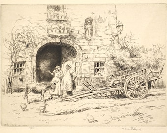Kerr Eby Fine Pencil Signed Etching The Family France 1928 Unmatted, Unframed
