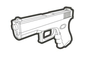 Gun / Pistol / Weapon Applique - Embroidery Machine Design