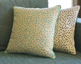 So Fun! Triangle Confetti Embroidery on Linen Pillow Cover , Blue Confetti Cushion Cover , Turquoise & Natural Cotton Linen Pillow Cover