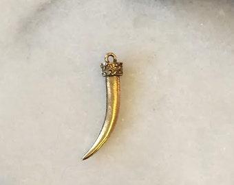 GOLD Tusk / Tusk Charm / Tusk Pendant / Horn Charm / Horn Pendant