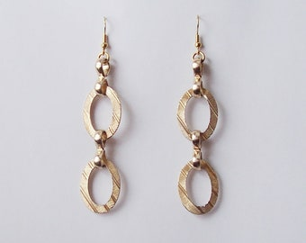 Hoop Oval Gold Tone Textured Earrings French Hook Ear Wires 3 1/2 Inches