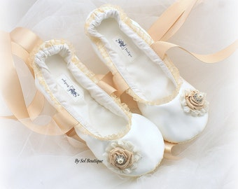 Ivory Satin Bridal Ballet Flats with Champagne Flowers and Ribbon Ties