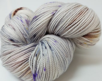 Silver Speckles, Gray, Purple, Brown, Navy, ColorPurl Ritzy XL, Hand Dyed Yarn, Merino Cashmere Nylon, MCN, Sock Weight, 600 yds, 150 gr