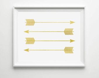 INSTANT DOWNLOAD Gold Arrows Print - Home Decor Print, Printable Card, Instant Download