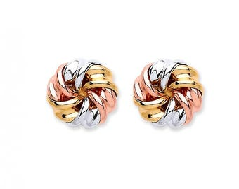 9ct Rose White & Yellow Gold 7mm Twisted Ribbon Knot Stud Earrings