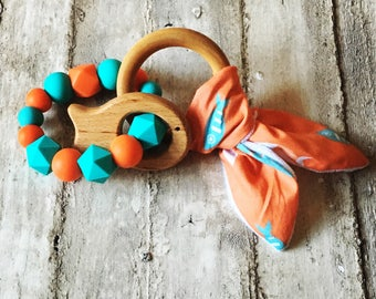 Orange and Turquoise Fish Crinkle Rattle Teether