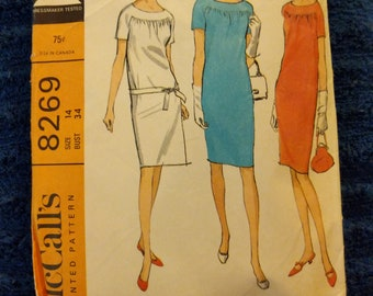 1960s dress pattern mccalls size14  # 8269