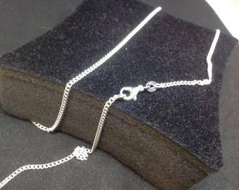 49cm flat mesh 925 sterling silver chain.