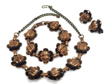 Copper Flower Jewelry Set Necklace, Bracelet and Earrings