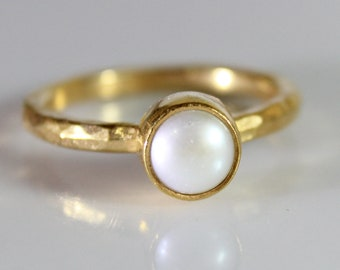 Fresh Water Pearl Stack Ring Handmade 925K Sterling Silver Ring 18K Gold Plated Over Silver