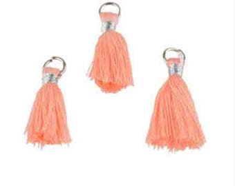 3 salmon pink tassels textile with ring 28x10mm