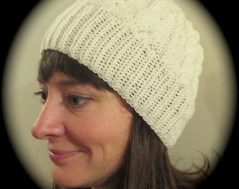 Cabled Cap in White Wool