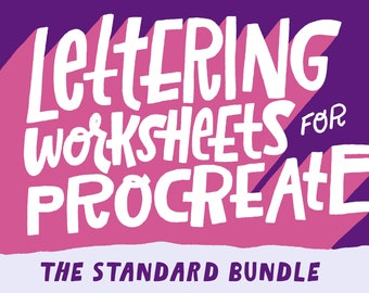 The Standard Digital Lettering Worksheet Bundle Pack for Procreate and Photoshop