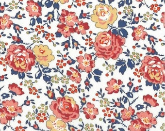 Printed fabric Liberty pattern Bliss peach apricot color blue orange